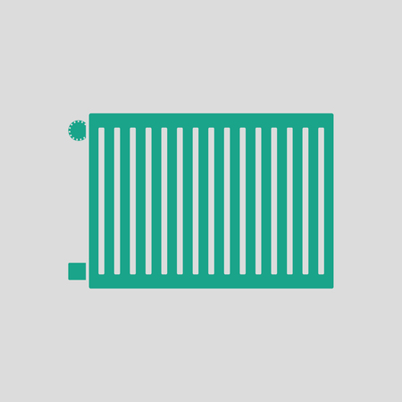 Icon of Radiator. Gray background with green. Vector illustration.