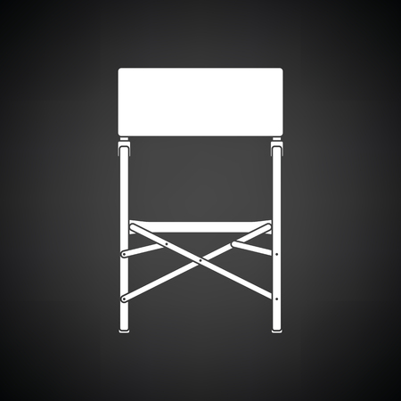 Icon of Fishing folding chair. Black background with white. Vector illustration.