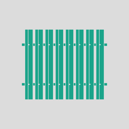 Icon of Construction fence . Gray background with green. Vector illustration.