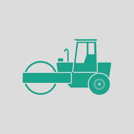 Icono de rodillo de camino. Fondo gris con verde. Ilustración vectorial.