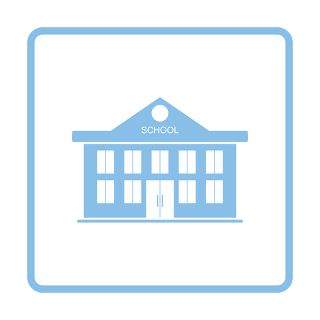 School building icon. Blue frame design. Vector illustration. Ilustrace