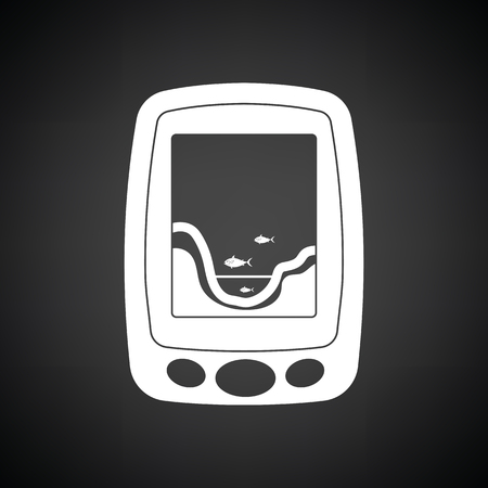Icon of echo sounder . Black background with white. Vector illustration.