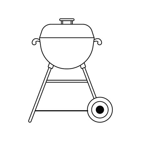 Icon of barbecue. Thin line design. Vector illustration.