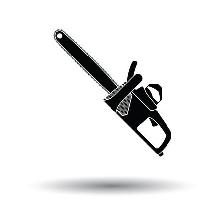 Icono de sierra de cadena. Fondo blanco con diseño de sombra. Ilustración vectorial.