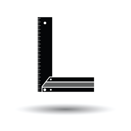 Setsquare icon. White background with shadow design. Vector illustration.