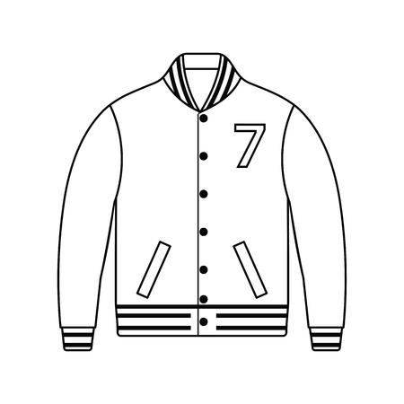 Icona di giacca da baseball. Design dalla linea sottile. Illustrazione vettoriale. Vettoriali