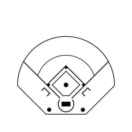 Baseball field aerial view icon. Thin line design. Vector illustration. 向量圖像