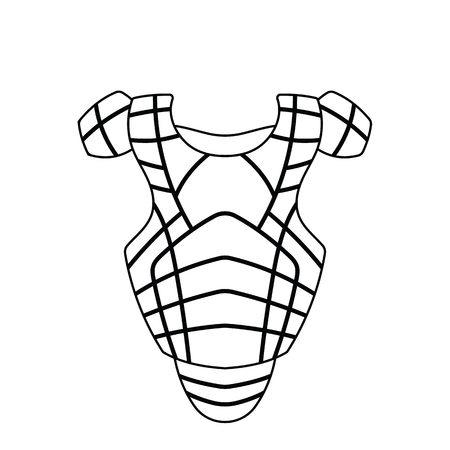 Baseball chest protector icon. Thin line design. Vector illustration.