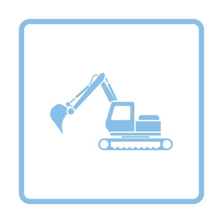 Icon of construction excavator. Blue frame design. Vector illustration.