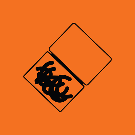 Icon of worm container. Orange background with black. Vector illustration. 일러스트