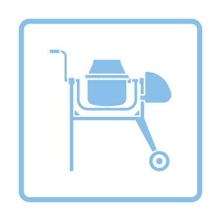Icon of Concrete mixer. Blue frame design. Vector illustration.