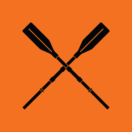 Icon of boat oars. Orange background with black. Vector illustration.