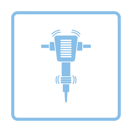 Icon of Construction jackhammer. Blue frame design. Vector illustration.