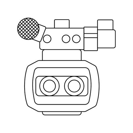3d movie camera icon. Thin line design. Vector illustration. Illustration