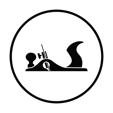 Jack-plane tool icon. Thin circle design.