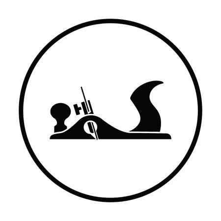 Jack-Plane-Werkzeugsymbol. Dünnes Kreis Design. Vektorgrafik