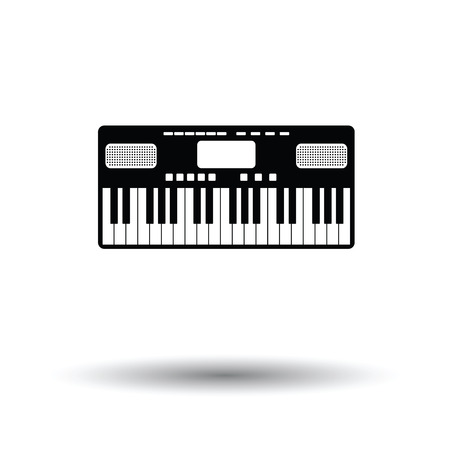 Music synthesizer icon. White background with shadow design.