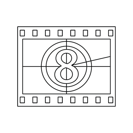 Movie frame with countdown icon. Thin line design. Vectores