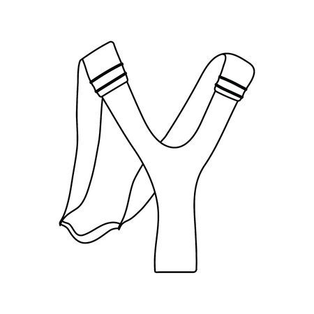 Icon of hunting slingshot. Thin line design.