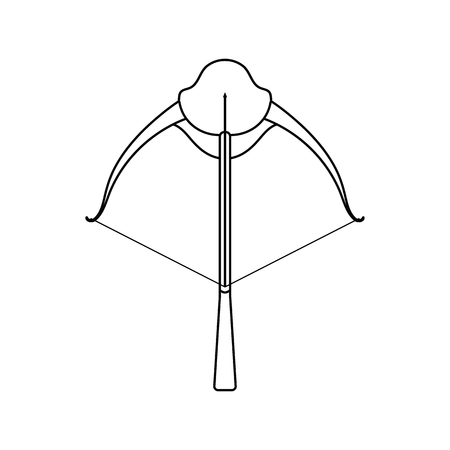 Icon of crossbow. Thin line design. Vector illustration.