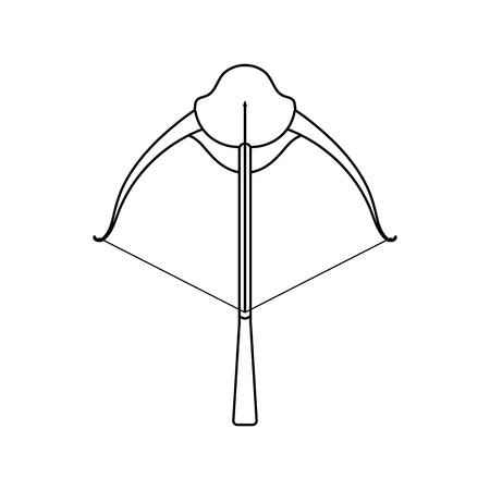 Icon of crossbow. Thin line design. Vector illustration.