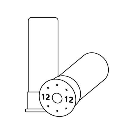 Ikone der Munition von der Jagdwaffe. Dünnes Liniendesign. Vektorgrafik