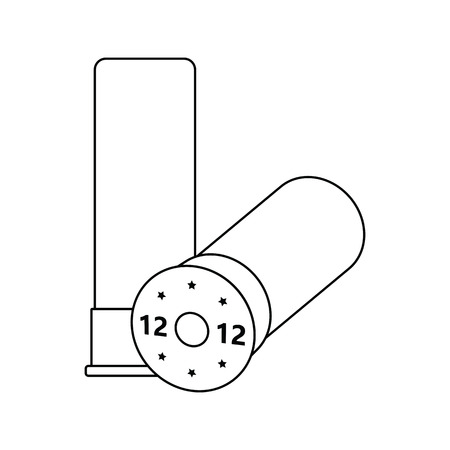 Icon of ammo from hunting gun. Thin line design. Illustration