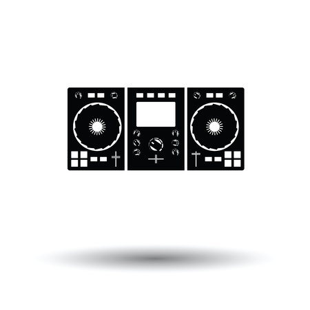 DJ icon. White background with shadow design. Illustration
