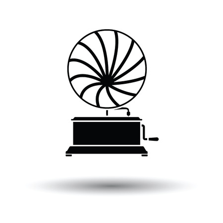 Gramophone icon. White background with shadow design. Illustration
