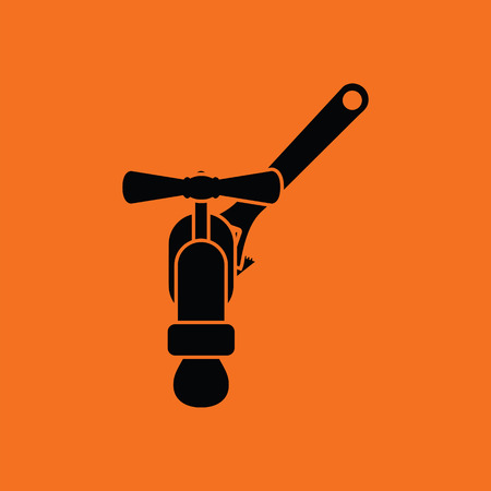 Icon of wrench and faucet. Orange background with black. Vector illustration.