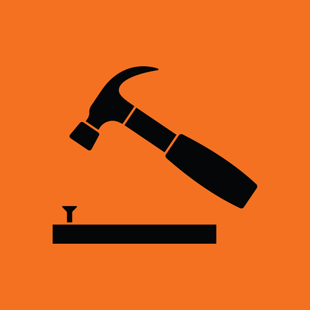 Icon of hammer beat to nail. Orange background with black. Vector illustration.