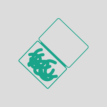Icon of worm container. Gray background with green. Vector illustration.