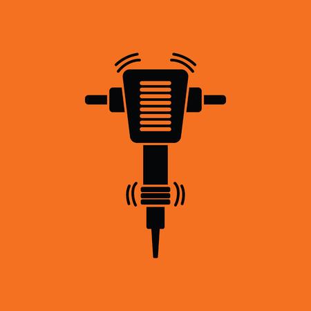 Icon of Construction jackhammer. Orange background with black. Vector illustration.  イラスト・ベクター素材