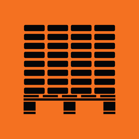 Icon of construction pallet . Orange background with black. Vector illustration.