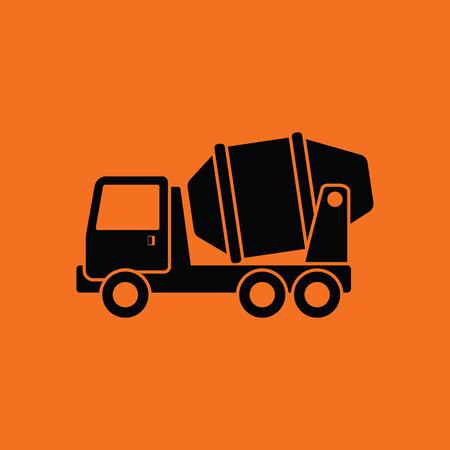 Icon of Concrete mixer truck . Orange background with black. Vector illustration.