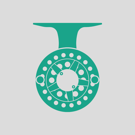 Icon of Fishing reel . Gray background with green. Vector illustration.