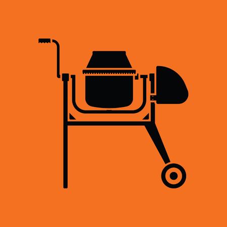 Icon of Concrete mixer. Orange background with black. Vector illustration.