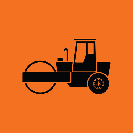 Icon of road roller. Orange background with black. Vector illustration.