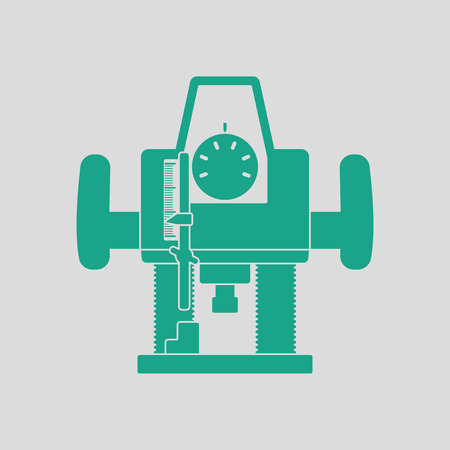 Plunger milling cutter icon. Gray background with green. Vector illustration. Çizim