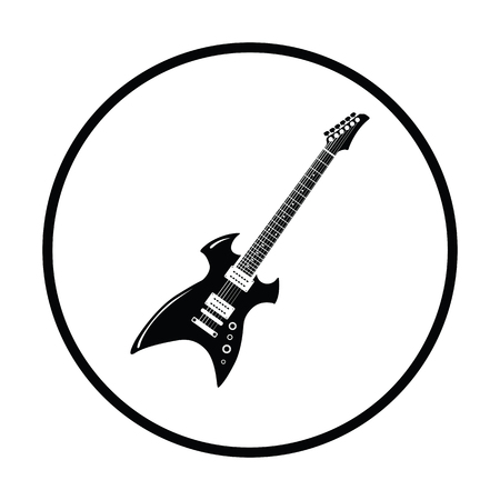 Electric guitar icon. Thin circle design. Vector illustration.