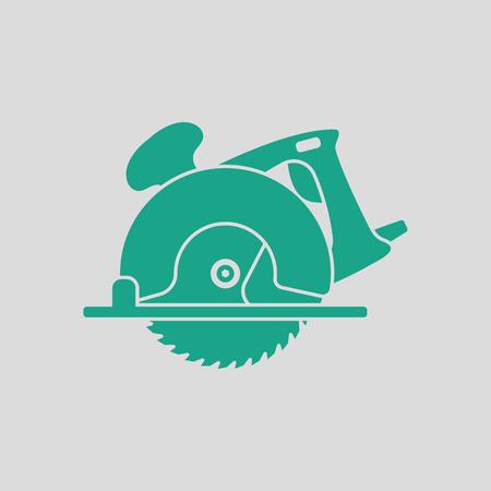 Icône de scie circulaire. Fond gris avec du vert. Illustration vectorielle.