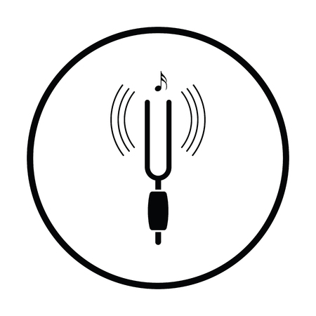 Tuning fork icon. Thin circle design. Vector illustration.