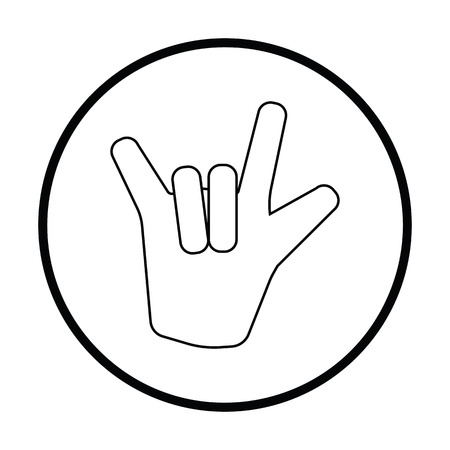 Rock Hand Symbol. Dünnes Kreis Design. Vektorillustration.