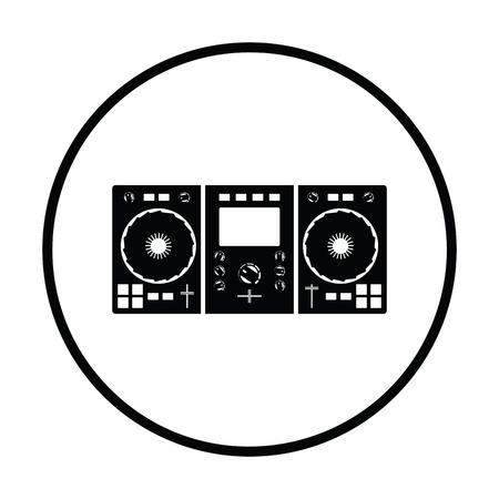 DJ icon. Thin circle design. Vector illustration. Illustration