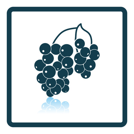 Icon of Black currant. Shadow reflection design. Vector illustration.