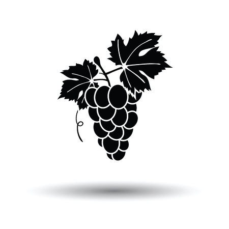 Icon of Grape. White background with shadow design. Vector illustration.