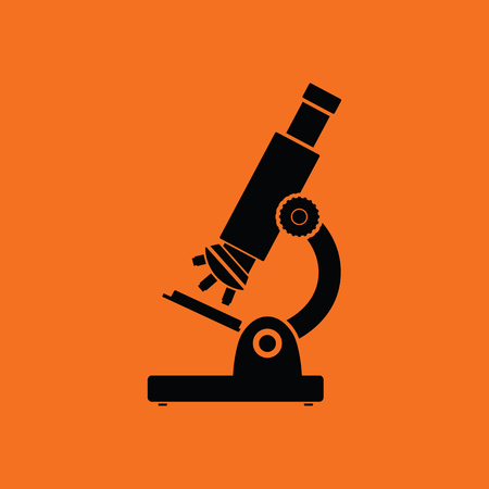 School microscope icon. Orange background with black. Vector illustration.