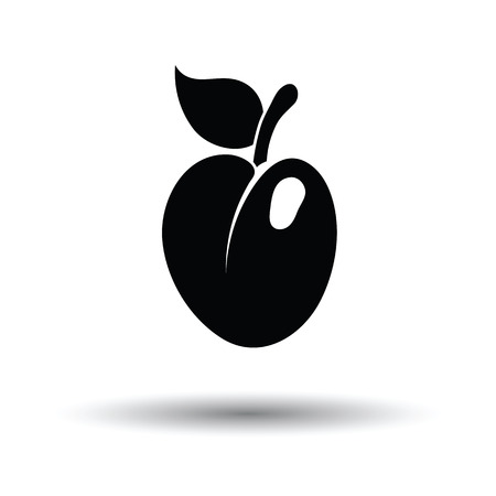 Icon of Plum . White background with shadow design. Vector illustration.