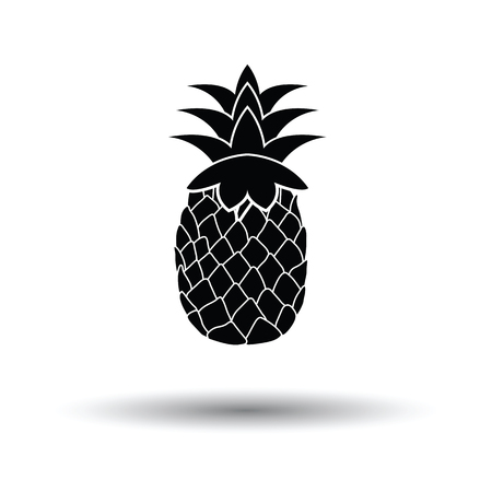 Icon of Pineapple. White background with shadow design. Vector illustration.