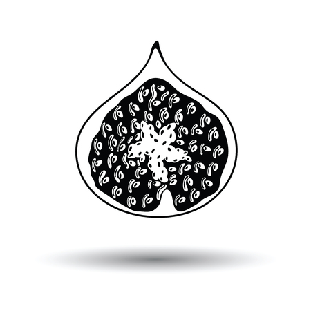 Icon of Fig fruit. White background with shadow design. Vector illustration. Vetores